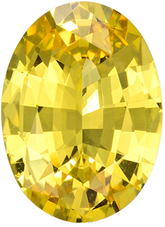 GIA Certified No Heat 8.4 x 6.2 mm Yellow Sapphire Genuine Gemstone in Oval Cut, Pure Rich Yellow, 1.41 carats