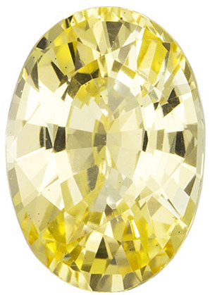GIA Certified No Heat 8.6 x 6 mm Yellow Sapphire Genuine Gemstone in Oval Cut, Pure Rich Yellow, 1.65 carats