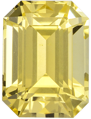 GIA Certified No Treatment 1.19 carats Yellow Sapphire Loose Gemstone in Emerald Cut, Intense Pure Yellow, 6.4 x 4.7 mm