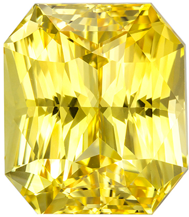 GIA Certified No Treatment 16.34 carats Yellow Sapphire Loose Gemstone in Radiant Cut, Intense Pure Yellow, 14.4 x 12.4 mm
