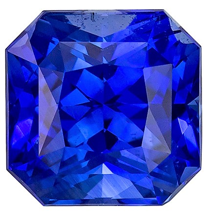 GIA Certified No Treatment 6.1 x 6 mm Blue Sapphire Genuine Gemstone in Radiant Cut, Vivid Blue, 1.54 carats