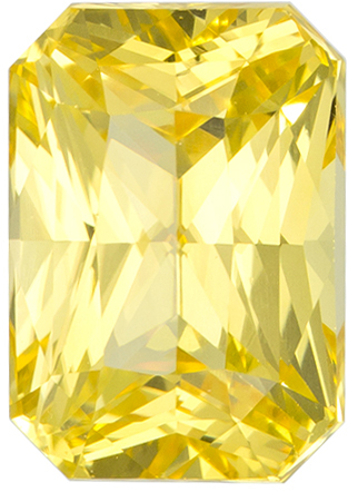 GIA Certified Unheated 7.6 x 5.4 mm Yellow Sapphire Genuine Gemstone in Radiant Cut, Pure Rich Yellow, 1.87 carats