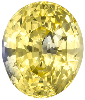 GIA Certified Unheated 7.9 x 6.7 mm Yellow Sapphire Genuine Gemstone in Oval Cut, Pure Rich Yellow, 2.13 carats