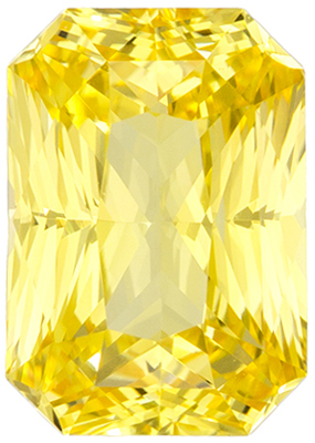 GIA Certified Untreated 2.09 carats Yellow Sapphire Loose Gemstone in Radiant Cut, Intense Pure Yellow, 8.3 x 5.9 mm