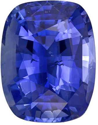GIA Certified Untreated 3.38 carats Blue Sapphire Loose Gemstone in Cushion Cut, Medium Blue, 9.9 x 7.6 mm