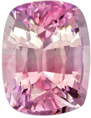 GIA Certified Untreated 7.6 x 5.9 mm Pink Sapphire Genuine Gemstone in Cushion Cut, Pastel Pink, 1.78 carats