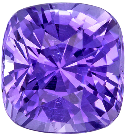GIA Certified Untreated 7.7 x 7.3 mm Purple Sapphire Genuine Gemstone in Cushion Cut, Rich Lavender, 2.56 carats