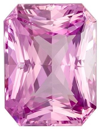 Unique Gem GIA Certified 2.75 carats Sapphire Genuine Gemstone in Radiant Cut, Vivid Pink, 8.9 x 6.7 mm