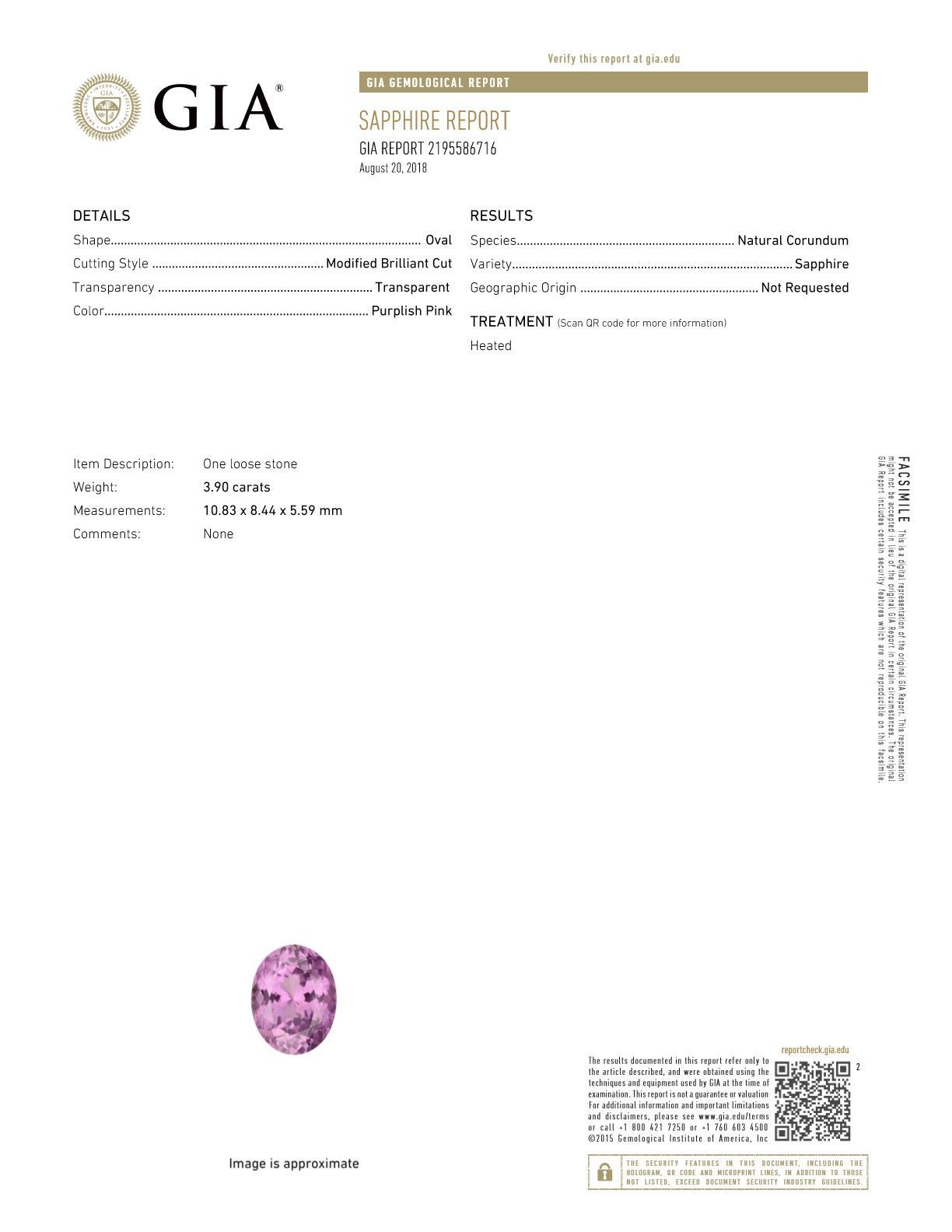 GIT Certified Delicious Pink Sapphire Stone from Madagascar for SALE! Oval Cut, 10.8 x 8.4 mm, 3.89 carats