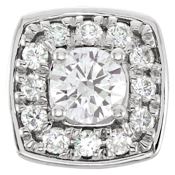 Glamorous 1/4ctw Diamond Cluster Peg Jewelry Finding in 14kt White Gold With 12 Round Diamonds