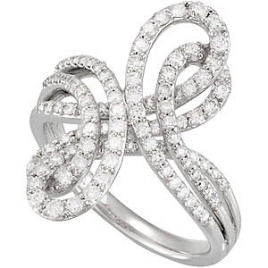 Glamorous 1ct Triple Band Diamond Studded Figure Eight Style 14k White Gold Ring