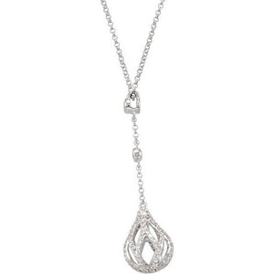 Glamorous Drop Style .75ct Diamond Pendant with an Open Briolette Shape Charm - FREE Chain Included