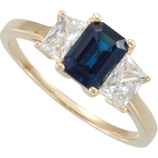 Glamorous Fine Vivid 7x5 mm Octagon Shape 1ct Blue Sapphire set in Classic 3 stone Ring with Large Trapezoid Diamonds