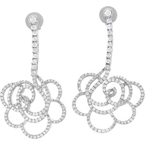 Glamorous Flower Diamond Dangle Earrings in 14k White Gold With Post Back Closure - 1.75 cts