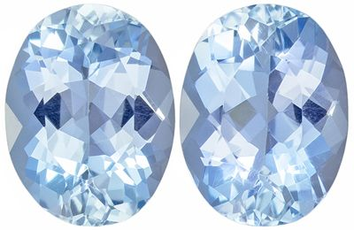 Glamorous Gems in Pair of Blue Aquamarine Oval Cut, 2.21 carats, 8.0 x 6.0 mm
