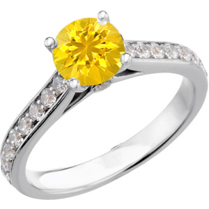 Glamorous Genuine Yellow 1 carat 6mm Sapphire Round Solitaire Engagement Ring With Inset Diamond Accents in Band