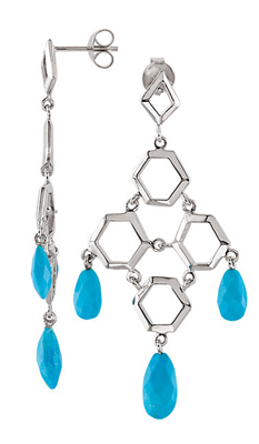 Glamorous Honeycomb Style Chandelier Earrings With Faceted Tear Drop Turquoise Gems - Choose Metal Type