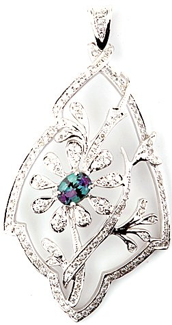 Glamorous Natural Alexandrite and Diamond Caged Flower Design Pendant in 14k White Gold - 0.56 carats, 6.55 x 4.90 mm