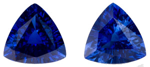 Gleaming Rich Blue Sapphire Matched Pair - Well Cut - Super Match, Trillion Cut, 2.25 carats