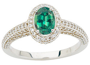 Glorious GEM Brazilian Oval Cut 0.85 Fine Gem Alexandrite set in a 1.50ct Pave Diamond White Gold Ring on SALE