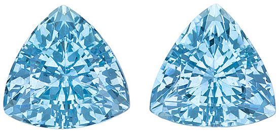 Glorious Pair of Exotic Unheated Aquamarine Gemstones from Mozambique, Trillion Cut, 3.93 Carats