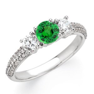 Glowing Green 1 carat Tsavorite Garnet 6mm Gemstone Engagement Ring With Diamond Side Gems and Diamond Accents on Band