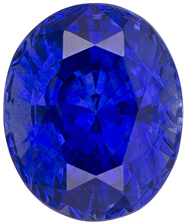 Glowing Vivid Blue Loose Oval Sapphire in Super Vivid Rich Blue Color, 7.5 x 6.2 mm, 1.82 carats