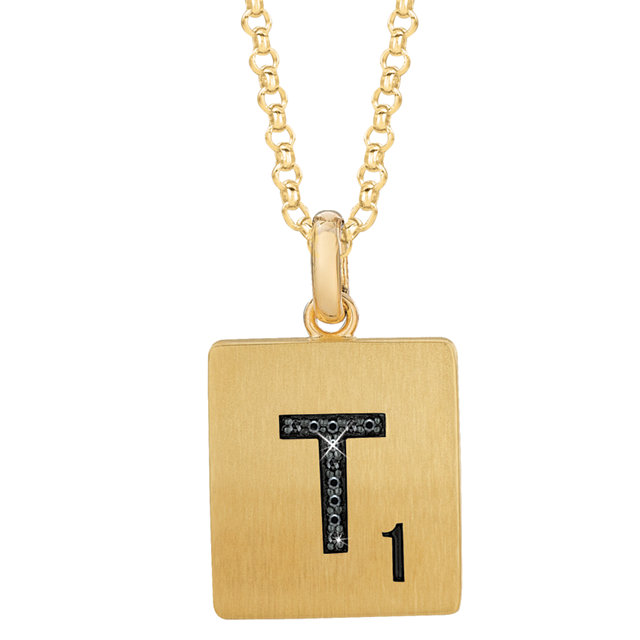 Gold Plated Sterling Silver .03 Carat TW Black Diamond Letter
