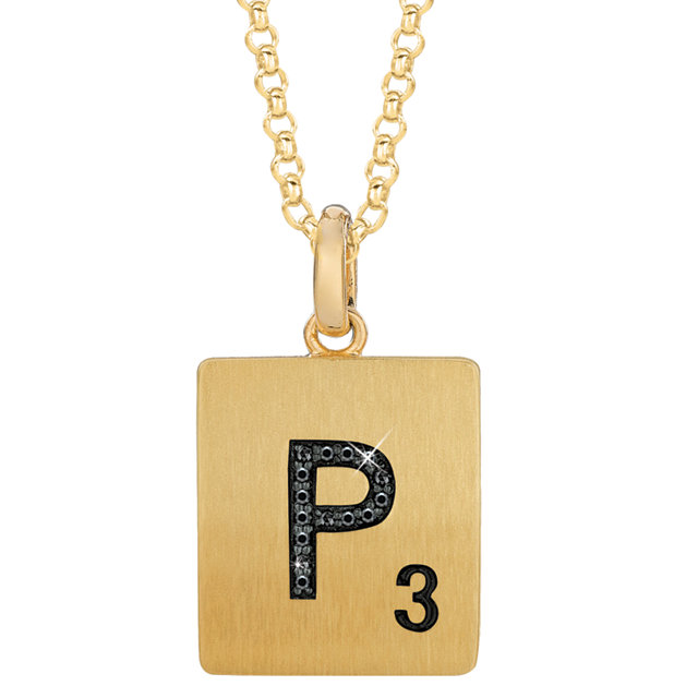 Gold Plated Sterling Silver .04 Carat Total Weight Black Diamond Letter