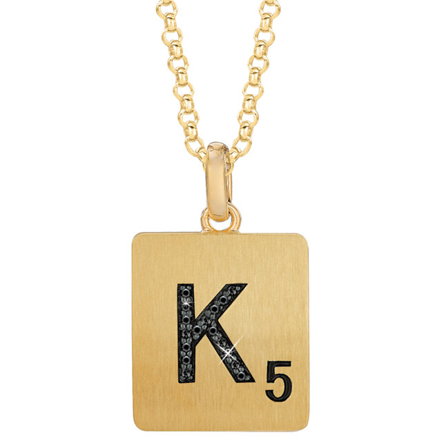 Gold Plated Sterling Silver .05 Carat Total Weight Black Diamond Letter