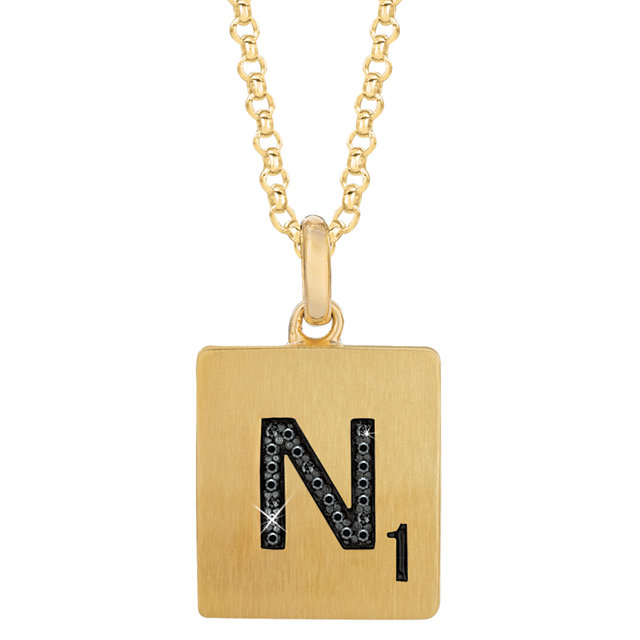 Gold Plated Sterling Silver .06 Carat Total Weight Black Diamond Letter