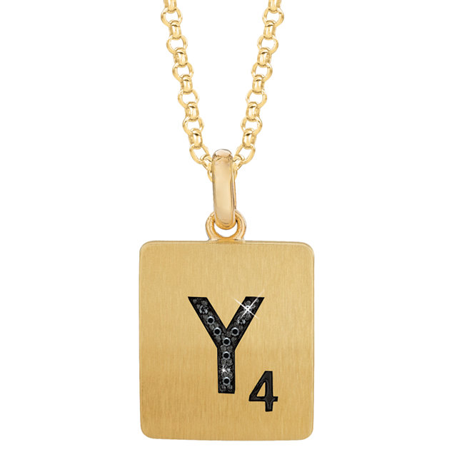 Gold Plated Sterling Silver 1/3 Carat Total Weight Black Diamond Letter