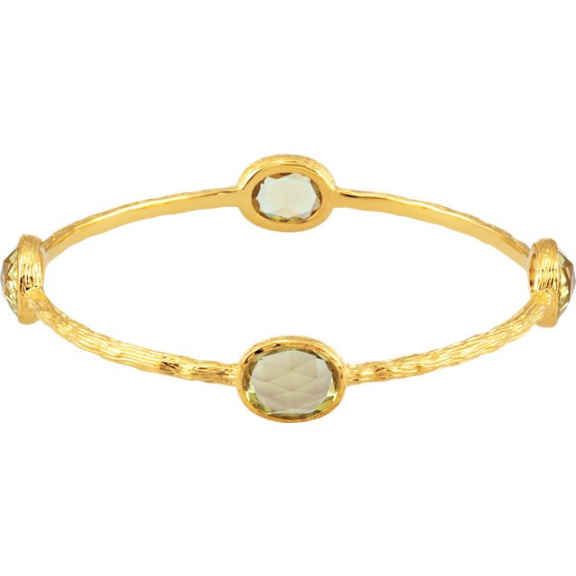 Gold Plated Sterling Silver Green Gold Quartz 8