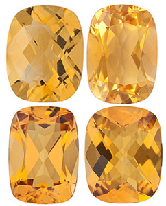 GOLDEN CITRINE  Antique Cushion Cut Gems - Calibrated