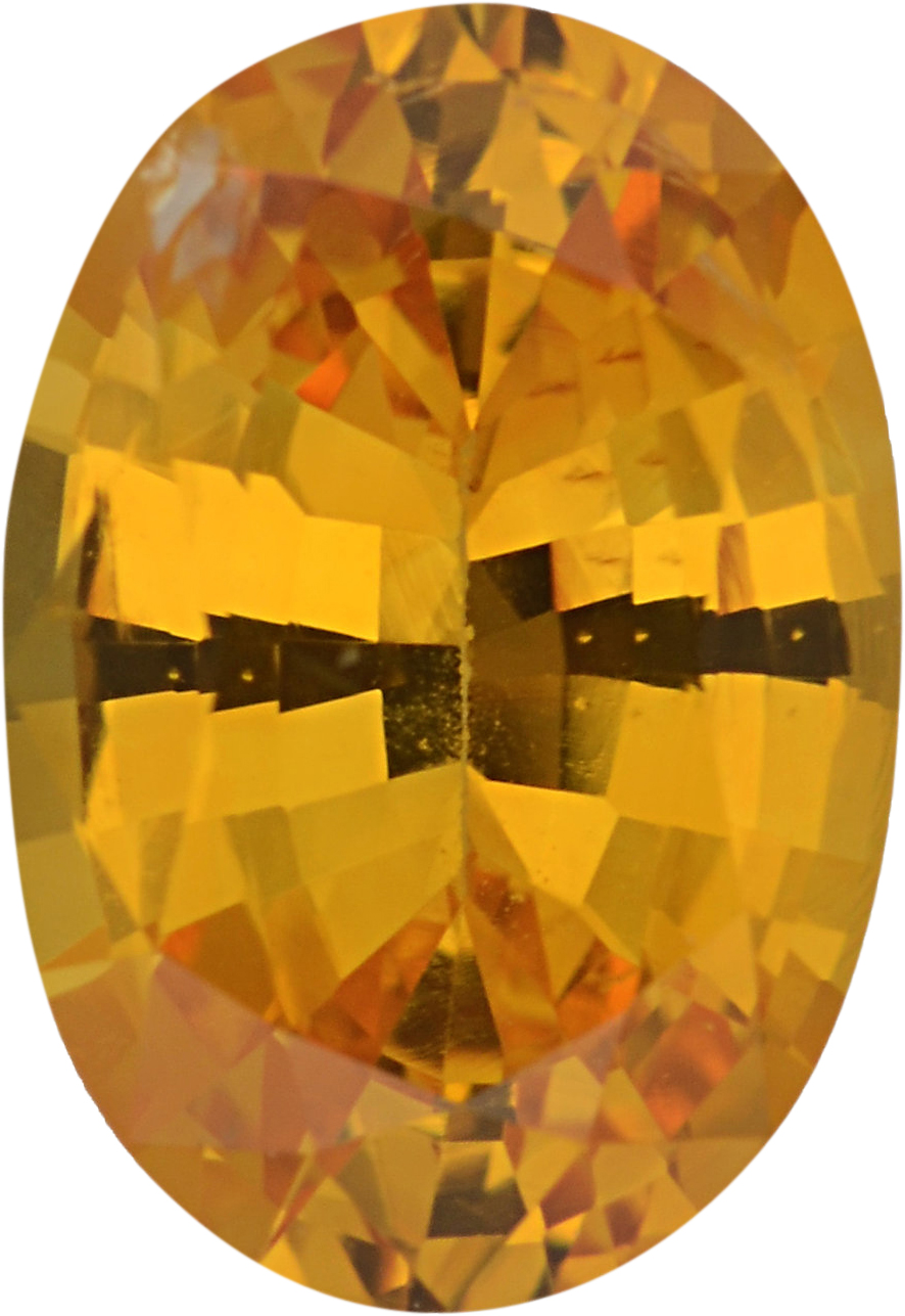 Good Looking Sapphire Loose Gem in Oval Cut, Light Vibrant Orangy Yellow, 7.57 x 5.24  mm, 1.03 Carats