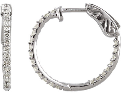 Gorgeous 1/2 carat Diamond Inside-Outside Hoop Earrings in 14k White Gold - 1.2-1.4mm Diamonds
