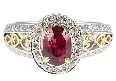 Quality 1.64 carat Low Price on Fuschia Sapphire & Diamond Ring in 2 tone 18 KT gold