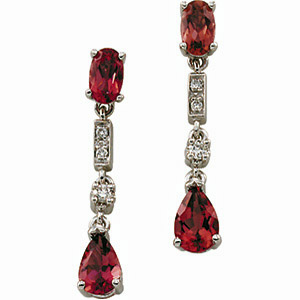 Gorgeous 1.64ct Oval and Pear Cut Pink Tourmaline and Diamond Accented Hanging Earrings