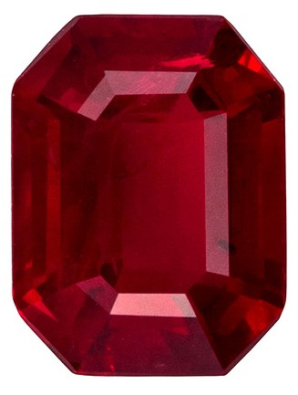 Great Ruby Buy in Gorgeous 1.83 carat Emerald shaped gemstone, 8 x 6.1 mm