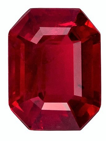 Great Looking Loose Faceted Ruby, 1.83 carat Rare Emerald Cut Gemstone, 8.0 x 6.1 mm Calibraated Size