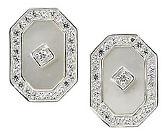 Gorgeous 11x7.5mm Mother of Pearl & Cubic Zirconia Earrings set in Sterling Silver - SOLD