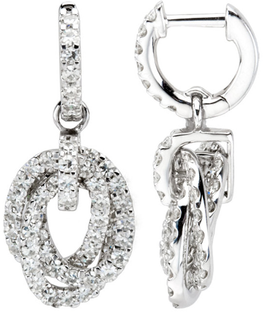 Gorgeous 14k White Gold Hoop Closure Earrings With Interlocking Dangle Loops - Studded With 124 Sparkling Created Moissanite Gems