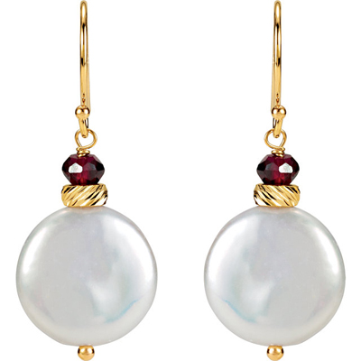 Gorgeous 14k Yellow Gold Wire Back Dangle Earrings With 13-14mm White Coin Pearl - Rhodolite Garnet Accents