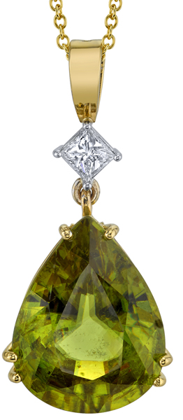 Gorgeous 17x12mm Pear Shape Sphene Gem Pendant in 18kt Yellow Gold - Princess Shape Diamond Accent