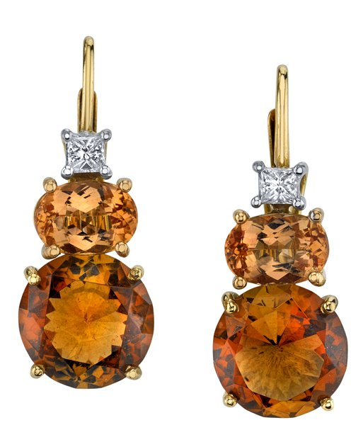 Gorgeous 18kt White & Rose Gold Leverback Dangle Earrings - Round Brown Topaz (8.62ctw), Oval Pink Topaz (2.59ctw) & Princess Cut Diamond Accents (0.24ctw)