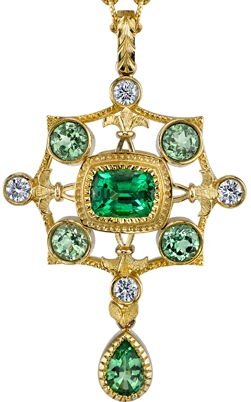 Gorgeous 18kt Yellow Gold 1.22 carat Emerald Green Tsavorite HandMade Pendant - Diamond & Tsavorite Accents - SOLD