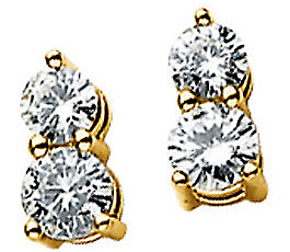 Gorgeous 1ct 2-Stone 14k Yellow Gold Earrings With Man Made 3 & 3.5mm Round Moissanite Gemstones
