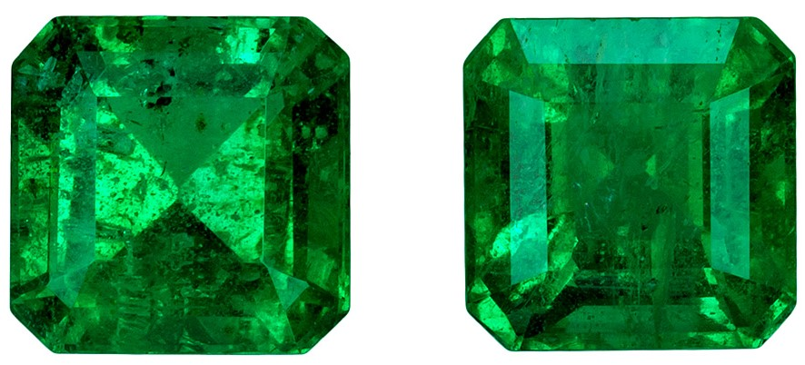 Gorgeous Pair of 2.30 carat Emerald Gemstones, Square shape, 6.0 mm Beautiful Pair