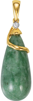 Gorgeous 22x10mm Tear Dropped Shape Jadeite Pendant in 14k Yellow Gold With Diamond Accents for SALE - FREE Chain With Pendant - SOLD