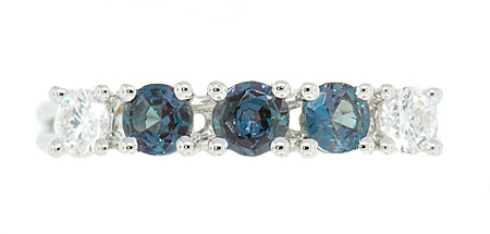Quality 3 Genuine Alexandrites 0.35cts Mounted in Diamond Band in 18 kt White Gold for SALE